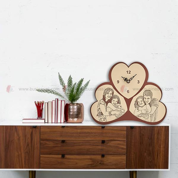 Engraved Wooden Table Clock