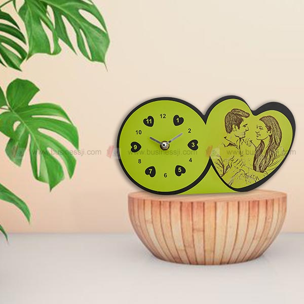 Green Engraved Table Clock
