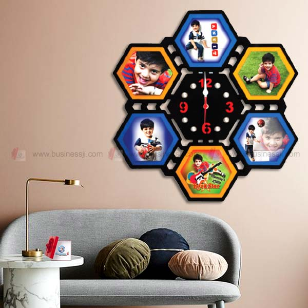 Hexagonal Clock Collage