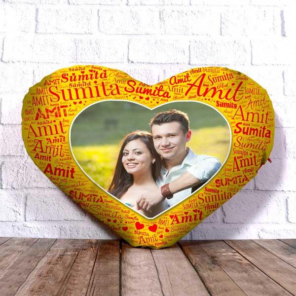 Yellow Heart Mosaic Cushion
